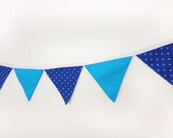 Cotton wall banner Blue Polka Dot Turquoise Wall decor Nursery baby bunting Fabric garland Wedding garland/Wall art/Wall hanging/Banners