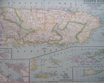 1936 PUERTO RICO Original Vintage Map, 11.5 x 14.5 inches, Home Decor, Cartography, Geography, Vintage Decor