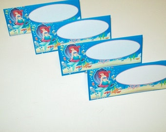 12 Little Mermaid Food Tent Cards/Name Place Cards/Happy Birthday/Party Supplies