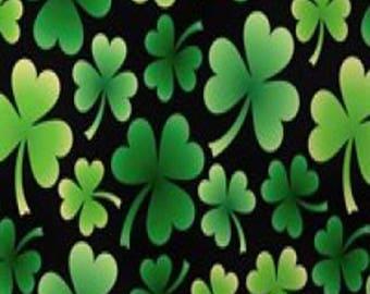 """Fleece Fabric Shamrock Clover Irish St Patrick Good Luck Fleece Fabric 60"""" Wide 6360"""