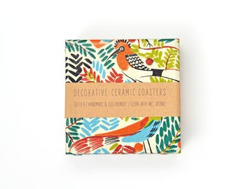 Tropical Birds Ceramic Coasters Exotic Illustration Colorful Drink Coasters