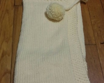 Infant Newborn Swaddle wrap with Hood, Hooded Blanket, Cream color. size 27 x 27