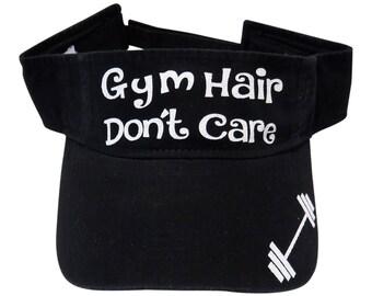 """NEW! White Glitter """"Gym Hair Don't Care"""" Black Cotton Visor Fitness"""