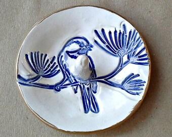 Ceramic Bird Ring Holder Ring Dish Ring bowl gold edged