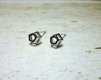 Pentagon Stud Earrings, Dainty Earrings