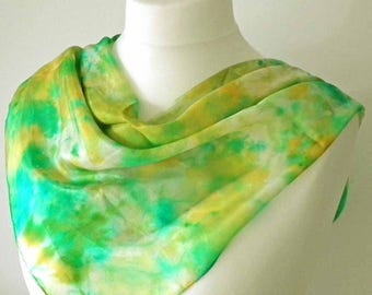 Silk Square Scarf, Headscarf, Hand Dyed, Silk Pongee, Space-dyed Silk Scarf, Silk Habotai, Green, Gold, Yellow, Turquoise, OOAK, UK Seller
