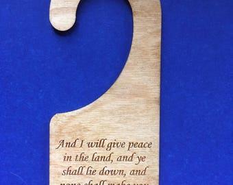 Wood Door Knob Hanger - Liviticus 26:6