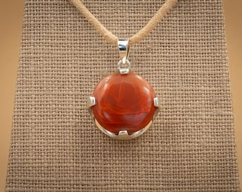 11.5 Ct Sherry Red Jelly Opal Round Cabochon in Sterling Silver Crown Setting.