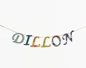 Custom Name Banner ~ Fabric Banner ~ Fabric Letters ~  Photo prop ~ DILLON Collection