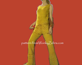 Crochet Mini Dress Trousers Vintage Pattern PDF 290 from WonkyZebra