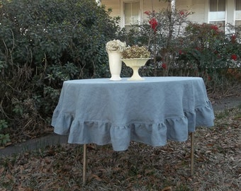 Gray Linen Tablecloth Ruffled Table Cloth Handmade Custom Sizes Colors available Ruffled Round Tablecloth Wedding Decorations Table Decor