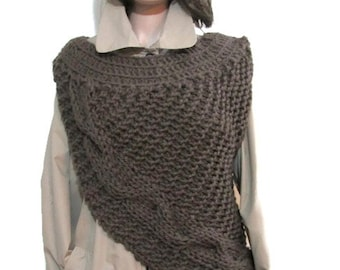 Katniss Huntress Cowl Vest Armor,Knitting all Adult Sizes and Colors,asymmetric Cowl,Huntress Vest Brown,Many Colors and Options Available.