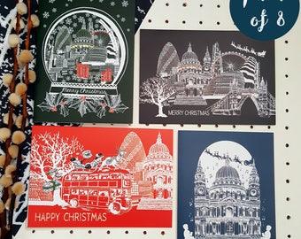 Christmas Card Pack-Set of 8 Festive London Skyline Cards //Multi-pack//Merry Christmas