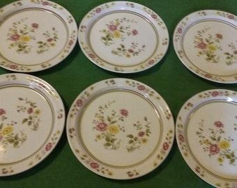 Vintage Classic Set of Six (6) Brendan/Erin Stone/Made in Arklow Ireland/Springtime/Irish/Multi Floral Dinnerware/Flowers/Eco Friendly/Used