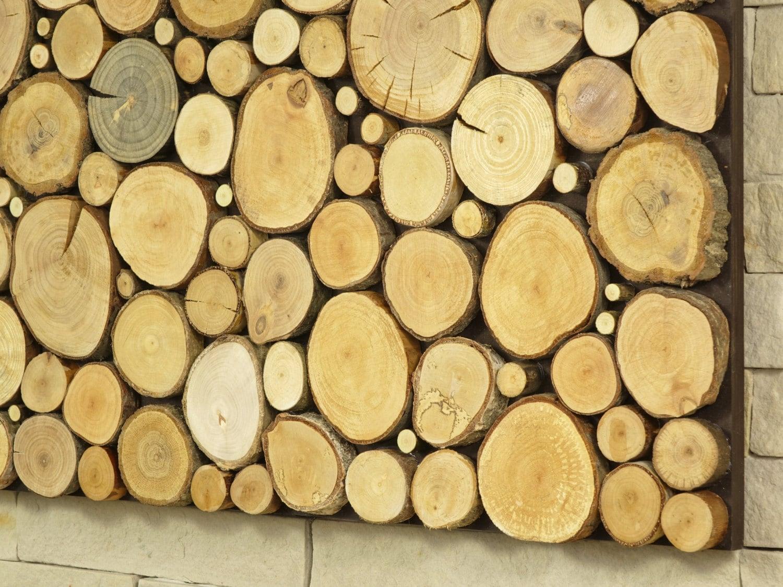 modern wall art, tree slices wall panel, sliced wood art, wooden ...