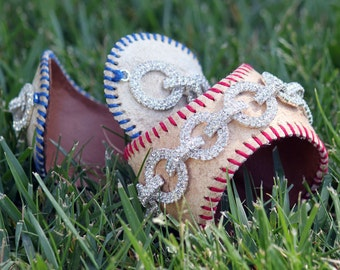 Leather upcycled real baseball cuff bracelet w/ sparkle bling - custom stitch color - baseball mom - little league fab fan jewelry