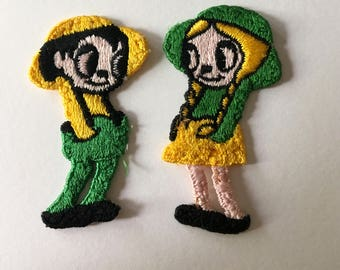 Little Boy & Girl Embroidered Sew-On Patches