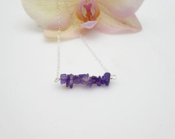 Amethyst Necklace/ Amethyst Bar Necklace/ Bar Necklace/ Gemstone Necklace/ Healing/February Birthstone/Free Shipping
