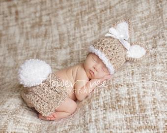 Newborn Bunny Hat, Newborn Bunny Hat and Diaper Cover Set, Newborn Photo Prop, Fuzzy Bunny Hat, Bunny Diaper Cover, Newborn Easter Prop
