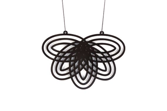 Necklace Mutation 07 - flower - black - statement jewellery - contemporary jewelry - minimalist - designer accessory - lasercut acrylic