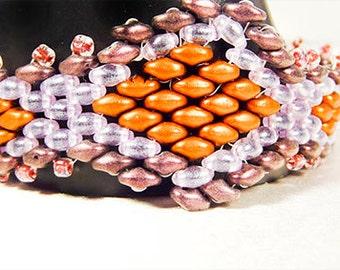 1405 - Bracelet, seed bead bracelet, duo bead bracelet, purple bracelet, purple seed beads, copper seed beads, diamond shapes, copper toggle