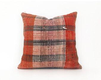 18''x18'' Caput Orange Multicolor Decorative Pillows Cotton Cushion Cover Ethnic pillow Tribal Pillow Floor Pillow Throw Pillow Accent