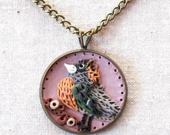 Earth Clay Jewelry - 18'' Pendant Necklace, Miniature Nature Scene Sculpture - Violet Bird