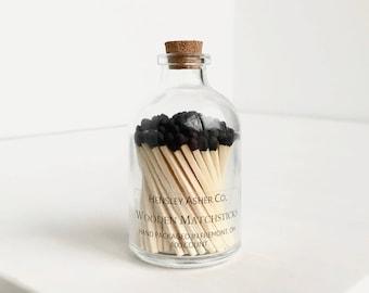 Black Wooden Matches. Match Bottle. Corked Jar. Matchsticks. Stoking Stuffer. Chirstmas Gift.