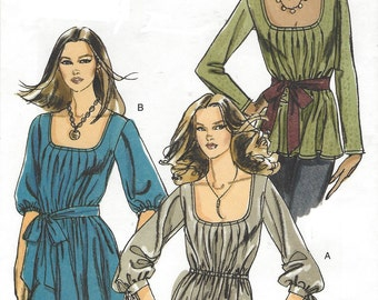 Womens Boho Tunic and Sash Sleeve Variations Stretch Knits OOP Vogue Sewing Pattern V8420 Size 6 8 10 12 Bust 30 1/2 to 34 UnCut