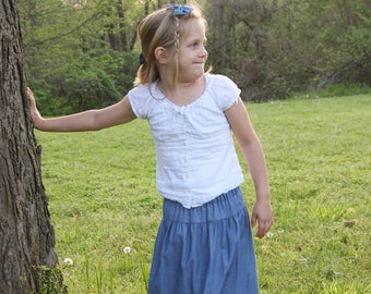 Girls Long Handmade Blue Ruffled Denim Jean Skirt Size 5/6