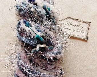 Ice Queen blue silver glitter ribbon tinsel teal pom twine cool mix Novelty Fiber Yarn Sampler Bundle
