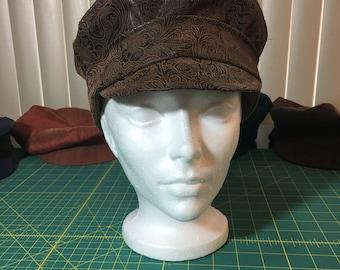 brown floral vegan leather peaked cap