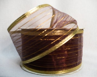 "Grape sheer ribbon, Sheer grape color, multiple metillic gold lines, metallic wired edge 2"" x 20 yards"