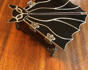 Stained Glass Bat Jewelry Box - Purple