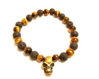 Mens skull bracelet with Tiger eye and lava