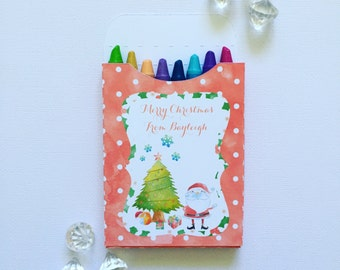 Watercolour Christmas crayon boxes