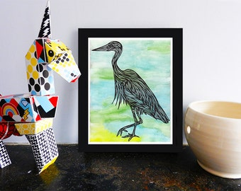 Great Blue Heron, Printable Bird Wall Art, Watercolor Painting Illustration Print, Decor, 8x10, Instant Download