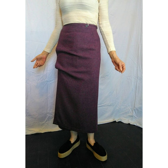 Vintage Shirin Guild Purple wool skirt minimalist Made in UK 1990s NWT