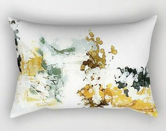 Neutral Pillow, Lumbar Pillow, Rectangular Pillow, White Pillow, Mustard Yellow, Charcoal Gray, Abstract Art Pillow, Sofa Pillow