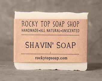 Shaving Soap, Shave Soap, for Men, Natural Soap, Homemade Soap, Unscented Soap, Gift for Him, Artisan Soap, Vegan Soap, Cold Process Soap