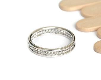 Node rhodiumed silver brass ring