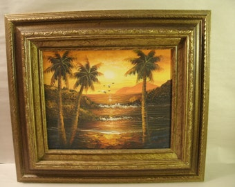 Original Painting Ocean Seascape Sunset Tropical Birds Orange and Yellow Framed