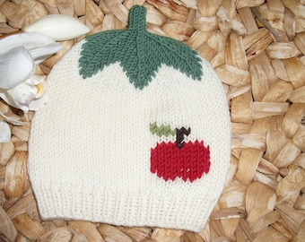 Apple Harvest 3: Baby and children's cap with red apple from 100% merino wool-in many sizes