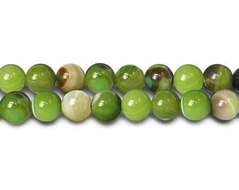 Natural Agate beads with 6mm OLIVE green 10 x