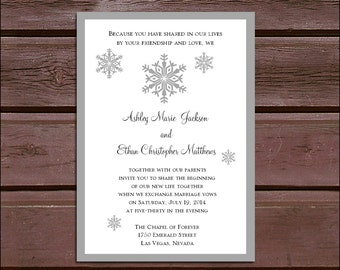 100 Snowflake Wedding Invitations, RSVP's, Reception Inserts w/ FREE Calendar Stickers, personalization, printing