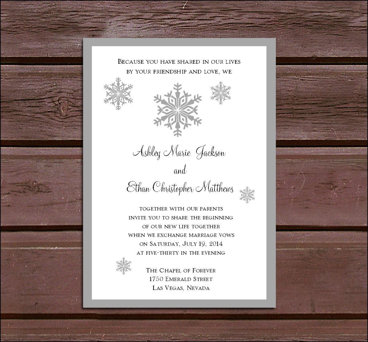 100 Snowflake Wedding Invitations, RSVP\'s, Reception Inserts w/ FREE ...