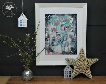 Abstract Garden  Painting - Expressive Mixed Media for Contemporary and Traditional Interiors