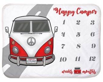 Volkswagen Baby Milestone Blanket VW red Bus Personalized Baby Blanket Track Growth and Age New Mom Baby Shower Gift VW Baby Happy Camper