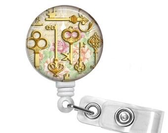 Golden Keys of Happiness Badge Reel, Retractable ID Badge