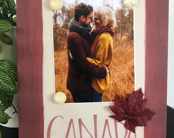 """Canada Canadian Trip Family Engaged Couple Maple Leaf Red Decor Vacation handmade magnetic picture frame holds 5"""" x 7"""" photo 9"""" x 11"""" size"""